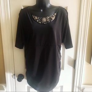 AB Studio Embellishments 3/4 sleeve black top XL